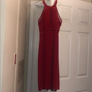 Halter strappy red gown